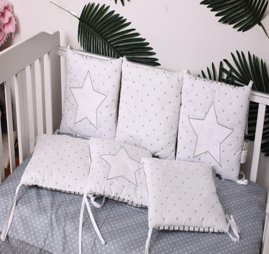 6 Pcs Baby Bed Sets Bumpers Cotton Embroidered Star Star Monolithic Baby Bedding Bumper Cartoon Pattern Baby Crib Bumper Bedding матрас универсальный в коляску esspero baby cotton star 108068286