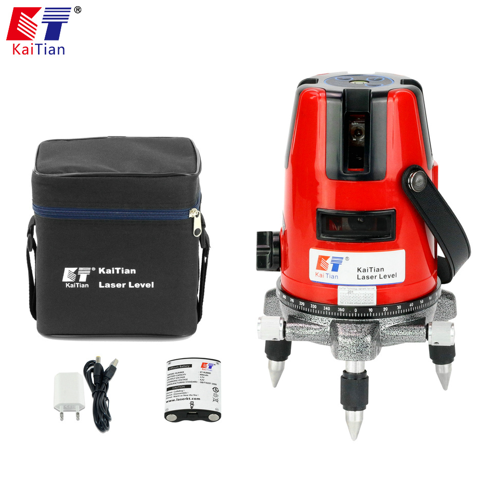 KaiTian Laser Level 5 Lines 6 Points Battery with Tilt Function 360 Rotary Self Leveling EU 635nm Vertical & Horizontal Lasers лазерный уровень kaitian 635nm 5 6 5 lines 6 points laser level