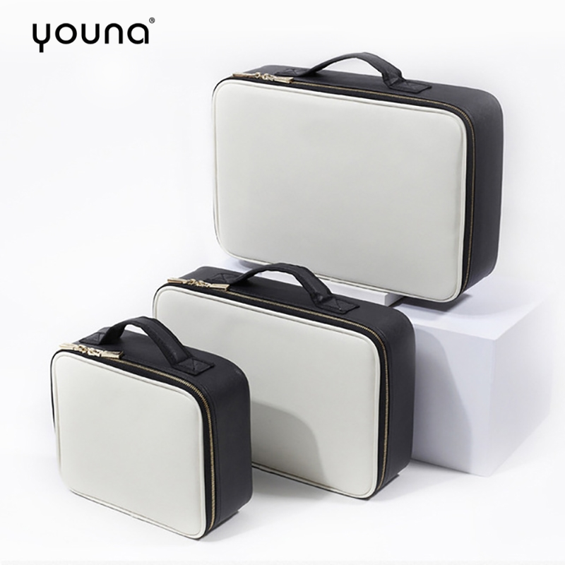 Travel Makeup Train Case Cosmetic Organizer Portable Travel Storage Box With Detachable Partition Tattoo Manicure Makeup Boxes