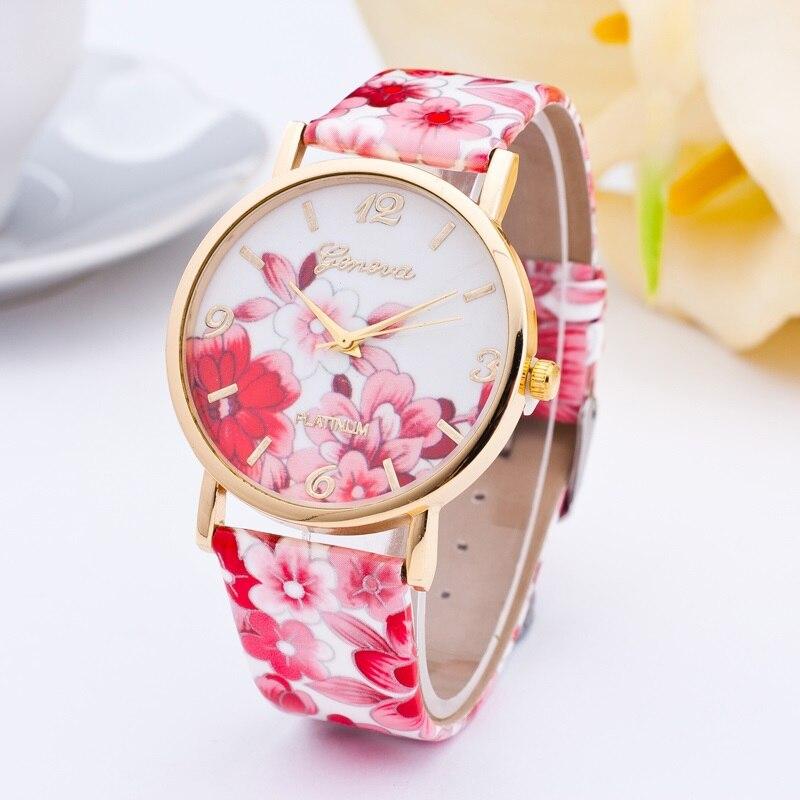 1 pc HOT Classic Geneva Womens Watches Flower Leather Analog Quartz Vogue WristWatch
