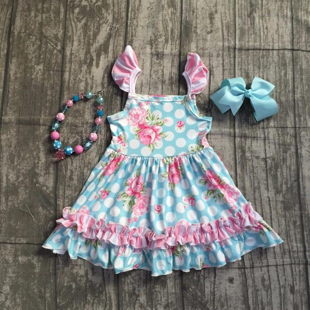 Bébé filles robe d'été vêtements filles rose floral robe enfants filles floral robe blanc polka dot robe avec accessoreis