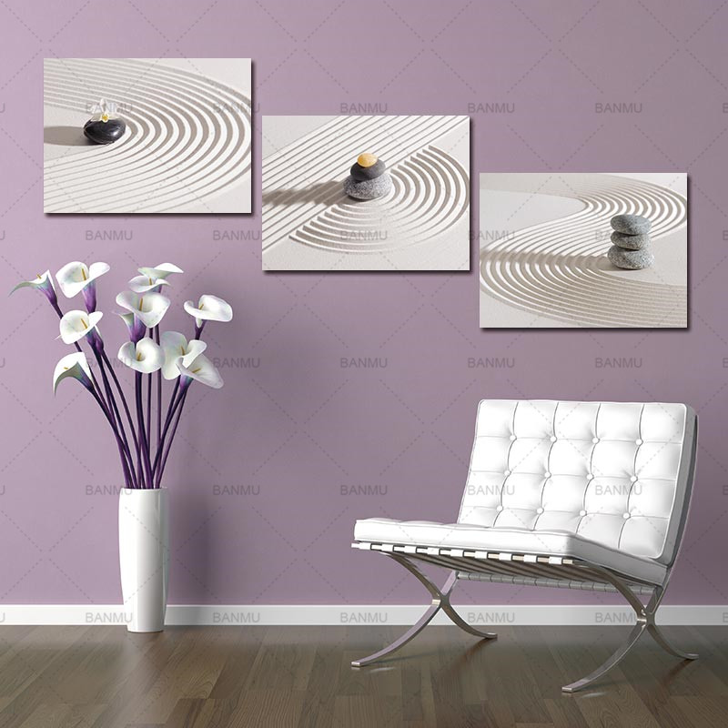 Canvas Wall Art Pictures Zen Spa Stone Prints On White Sand Canvas