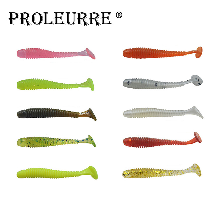 10Pcs/pack 4.5cm 0.7g Soft worms for Fishing Pesca Swimbait Jig Head Soft Lure 10 colors Fly Fishing Bait Mix Crank Hook Fishing 50pcs mix soft lure grub worm capuchin maggots fishing jig head hook bait set