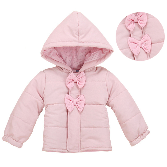 0-2 Yrs Winter Baby Girl Coat & Jacket High Quality Pink Children Outerwear Coats With Bowknot Hooded Kids Warm Outwear