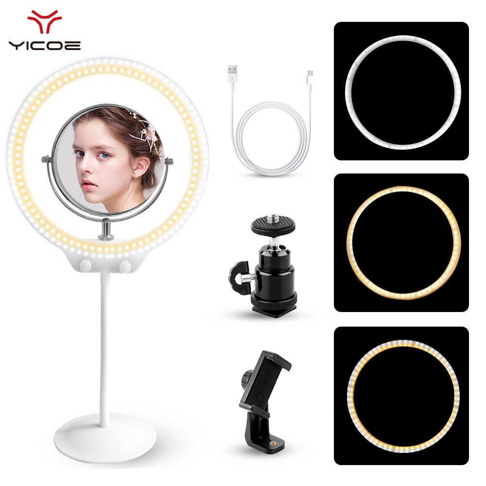 """Pode ser escurecido 10 """"Anel LEVOU Anel de Luz De Vídeo Foto Lâmpada Anel de Luz Cabo de Carga Para O Youtube Mesa de Maquiagem Com Maquiagem espelho"""