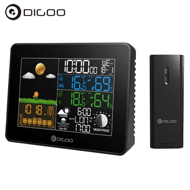 Digoo DG-TH8868 Wireless Full-Color Screen Barometric Pressure Weather Station Hygrometer Thermometer Forecast Sensor Clock