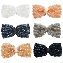 "2pcs/lot 3"" Boutique Handmade Crystal Hair Bow With Clip For Girls Bling Bling Hairpin Hair Clip Kids Hair Accessories"
