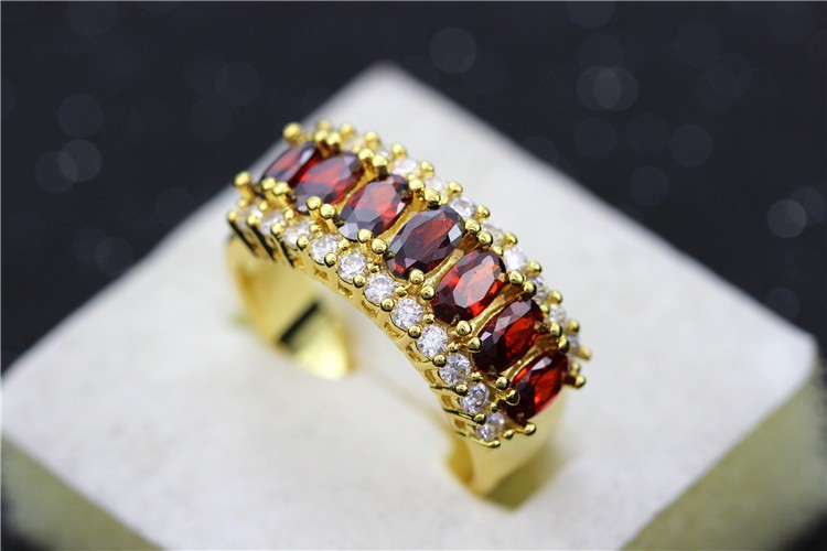 Uloveido Valentine's Day Gift Womens Silver Plated Red Wedding Large Colored Ring Red Green Zircon Sets Ringen Jewelry 2016 J501 11