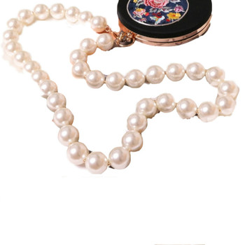 Personalized handmade super big size pearl chain wide shoulder strap diagonal cross