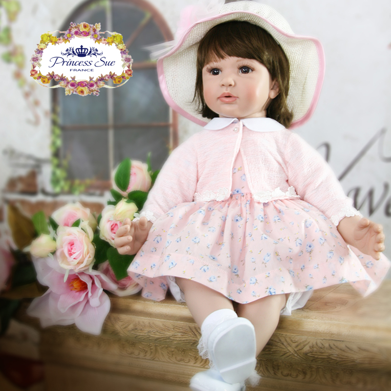 Pursue 24/60 cm Silicone Reborn Baby Dolls Pink Princess Dress Brown Hair With Beautiful Hat Cloth Body Soft Feel Gift For Girl adorable soft cloth body silicone reborn toddler princess girl baby alive doll toys with strap denim skirts pink headband dolls