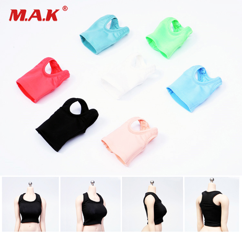 7color For large bust body girl vest 1/6 Scale Sexy Short elastic sports Candy colors for big chest Ph female