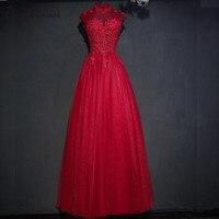 C V Short Sleeve Long Evening Dress 2017 Fashion New Stand Collar Long Design Lace Beading
