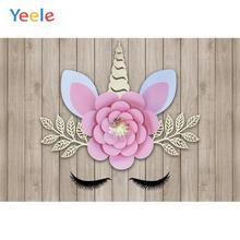 Yeele Unicorn Birthday Photocall Bedroom Decor Wood Photography Backdrops Personalized Photographic Backgrounds For Photo Studio