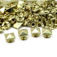 50pcs/Lot 10mm Metal Gold Tone Square Pyramid Rivet Studs Spikes Punk Rock DIY Bags Shoes Clothes Decor Leathercraft New
