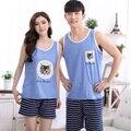 1078 Summer style azul superior de la raya pantalones cortos Parejas de Dormir de Gran tamaño