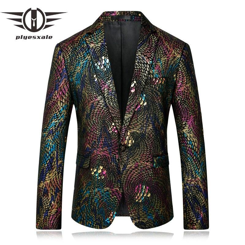 Plyesxale Men Blazer 2018 Slim Fit Fancy Blazers For Men Stage Costumes For Singers Prom Blazers Mens Paisley Suit Jacket Q254