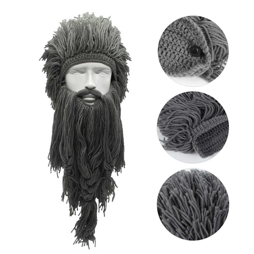 Gebreide Pruik Lange Baard Viking Hoed Unisex Winter Warm Creatieve Cosplay Barbarian Beanie Grappig Crazy Ski Masker Caps Halloween Gift