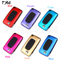 Colored Mental 2 Button Peugeot 307 408 Flip Remote Key Case Fob With Battery Clip Blade