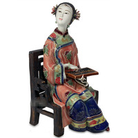 Chinese Ancient Classical Beauty Ceramics Statue Personality Retro Figure Figurines Home Decorations Craftwork X1869