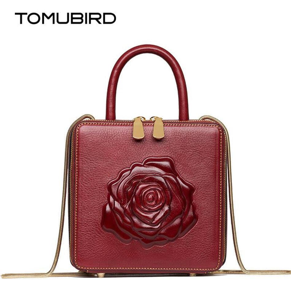 Vintage women top-handle bags genuine leather handbag female fashion box type designer Women's chain bag ladies messenger bags
