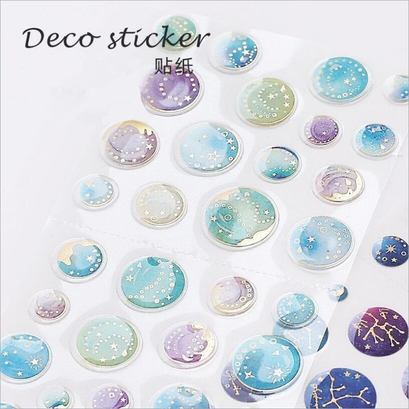 JUKUAI Creative Retro Time/Shell/planet Gilding Plastic Sticker Decoration Diy Ablum Diary Scrapbooking Label Stickers 7208