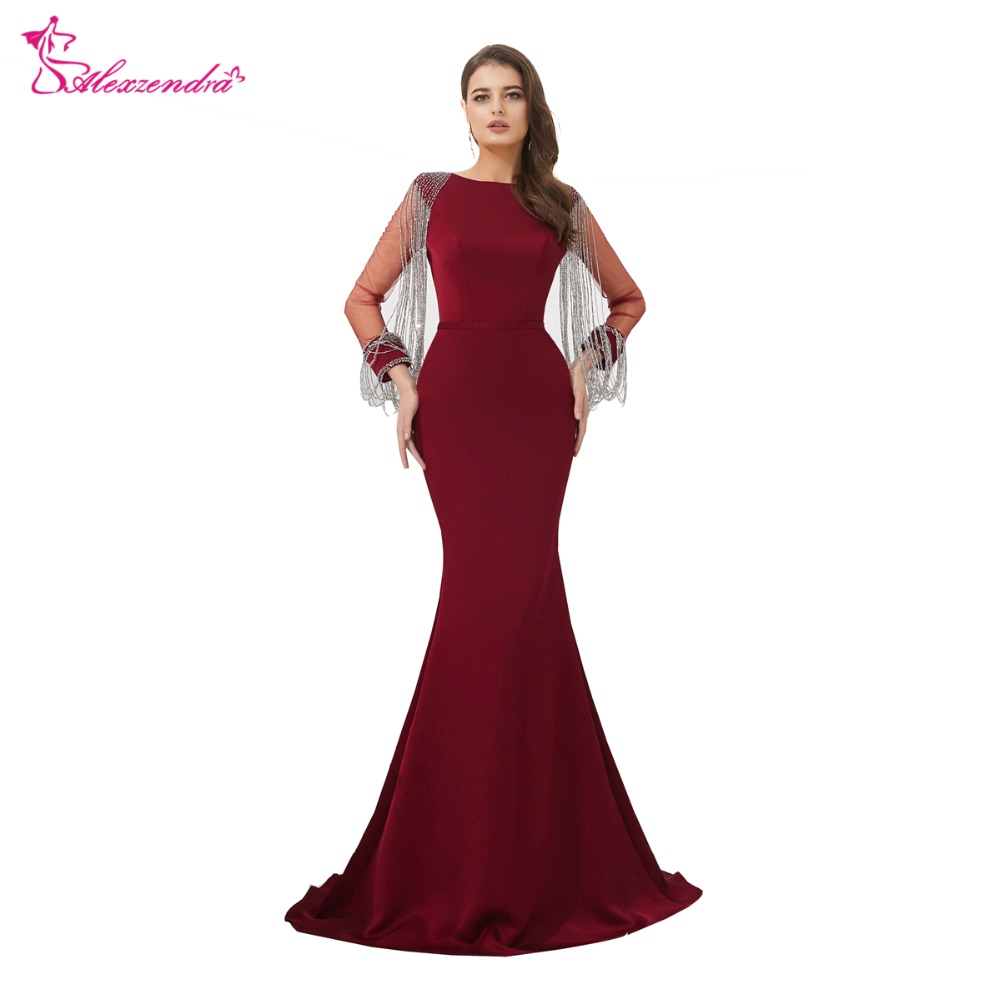 Alexzendra Burgundy Mermaid Formal Evening Dress 2019 Long Sleeves Prom Dresses Plus Size Special Party Dresses