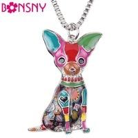 Bonsny Maxi Statement Metal Alloy Chihuahuas Dog Choker Necklace Chain Collar Pendant Fashion New Enamel Jewelry