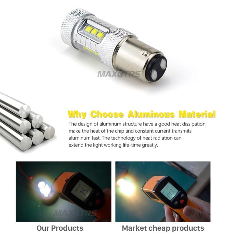 2x 30W 50W 80W S25 1157 BAY15D Cree Chip Led LED крушка P21 / - Автомобилни светлини - Снимка 4