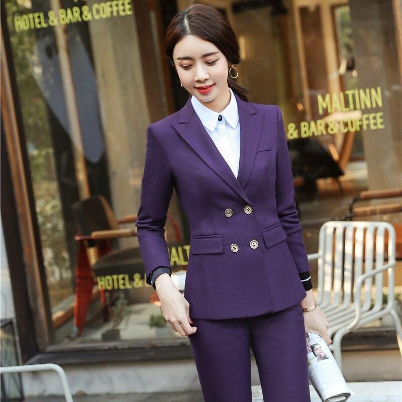 2 Pieces Formal Pantsuits Professional Uniform Designs Blazers Suits With Tops And Pants Women Office Sets Pants Suits
