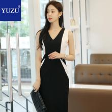 b129af3765 Sexy Black And White Dress Elegant Office Party V Neck Sleeveless Pencil  Bodycon Knee-length