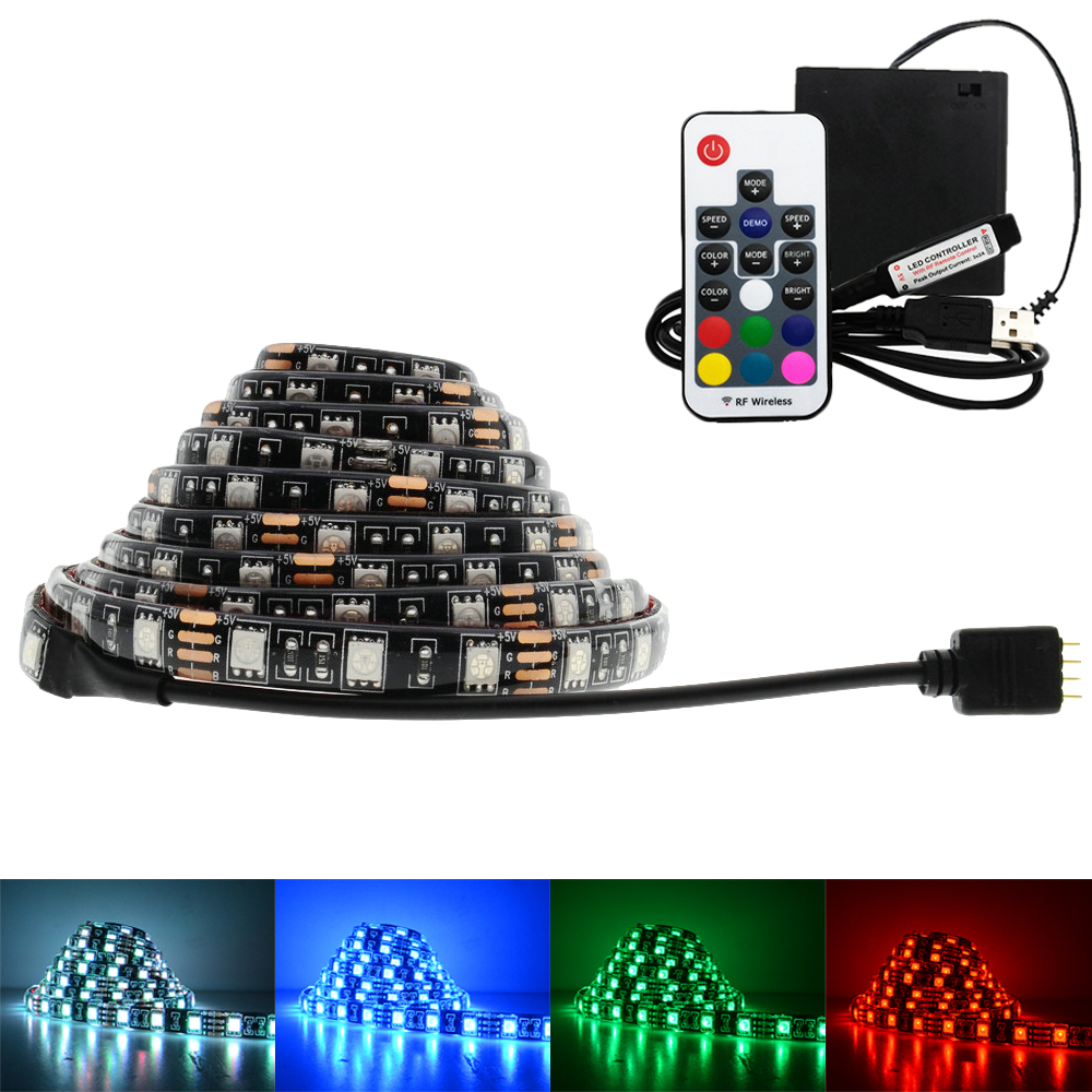 5V USB 5050 LED Strip lights RGB Black PCB Led Lighting Backlight Remote For TV Background Lights with AA batteries box ring 5v 16 5050 rgb led with integrated drivers module for arduino led lighting strip