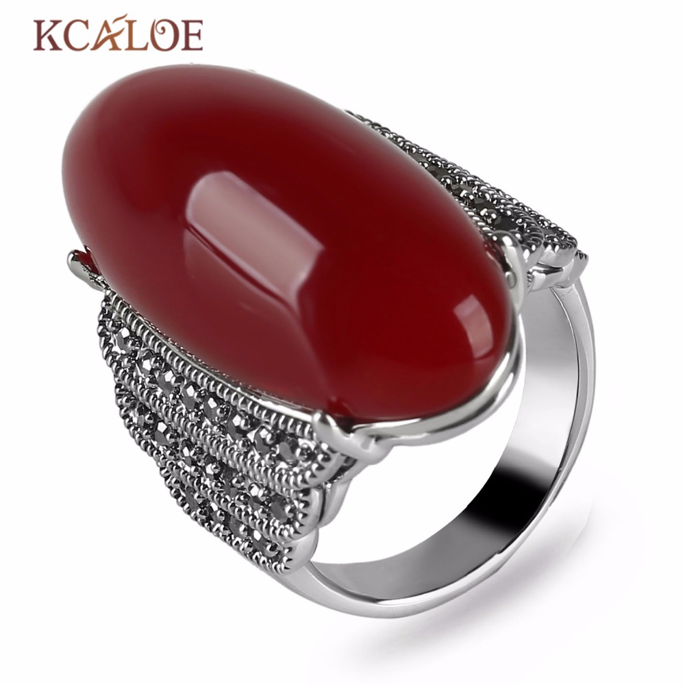 Antique Big Red Agate Stone Rings For Women Vintage Retro