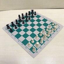Виниловые турнирные шахматы доска для детских обучающих игр зеленая и Белая магнитная доска для шахмат P15 34,5 см