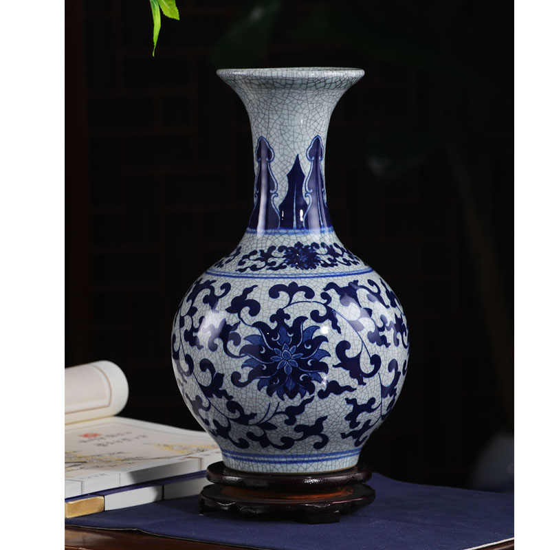 Jingdezhen Keramik Vas Antik Biru dan Putih Vas Rumah Ruang Tamu Kamar Potret Kerajinan Tangan Dekoratif Vas Bunga Pengaturan