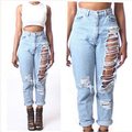 Fashion Women Jeans Ripped Holes Fashion Straight Full Length Mid Waist Famale Washed Denim Pants Cotton Trousers