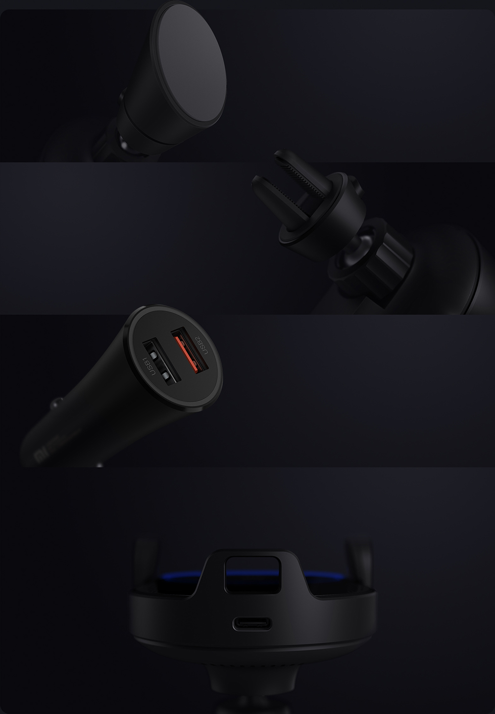 Xiaomi Mijia Wireless Car Charger Fast Charge 20W Max Electric Auto Pinch 2.5D Glass Ring Lit For Mi 9 10W 7