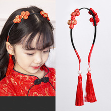 Girls New Year Chinese Style Knot Bow Red Tassel Vintage Hairbands Princess  Cute Headbands Children Lucky a67d30dffc3b