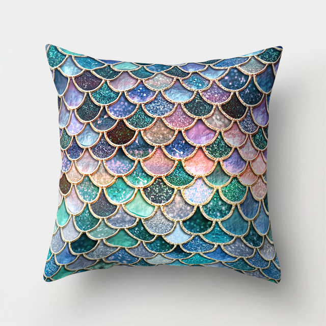 Colorful Geometric Patterned Cushion Cover
