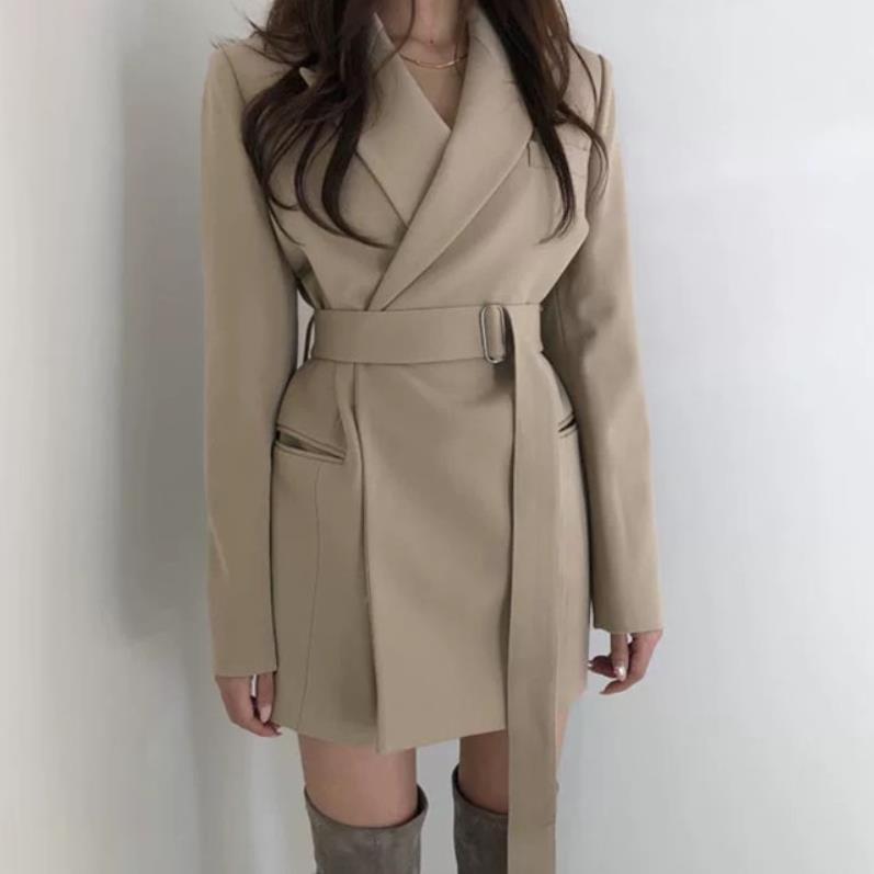 Femmes Veste Décontracté Nouvelle Costume Printemps Dame Mode Slim Travail khaki 2019 Ceinture Bureau Black Manteau Blazer D'affaires gAfdnnFq