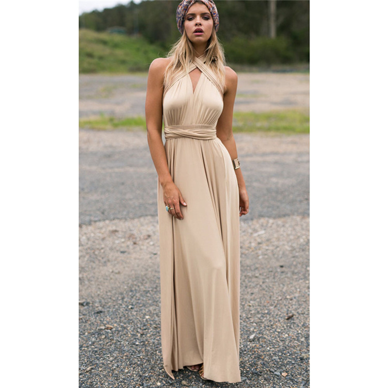 New Champage Bridesmaid Dress Long Covertible Pleated Floor Length Gowns For Women Bride Wedding Party Cheap Long Prom Dress