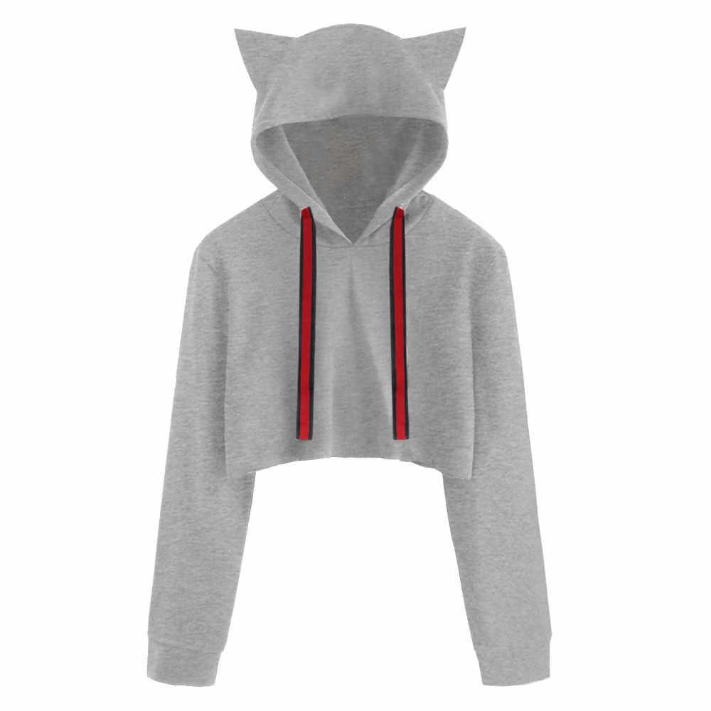 Большие размеры женские кофты Растениеводство Топ пиджаки для друзей Толстовка Кот с длинным рукавом пуловер с капюшоном короткие блузка PAUGT9