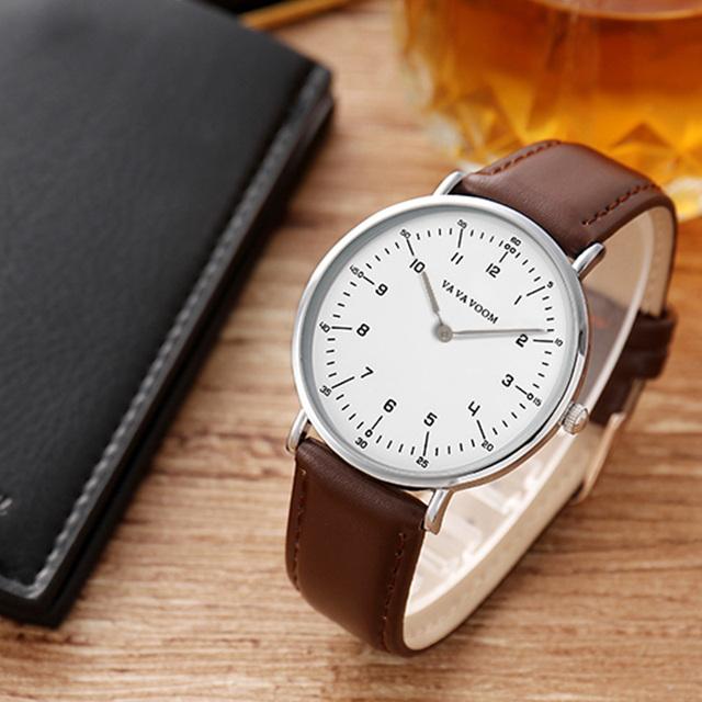 VAVA VOOM luxury brand waterproof quartz watch with leather strap calendar quartz watch for men