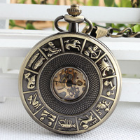 Bronze Mechanical Pocket Watch Classic Steampunk Roman Dial Skeleton Mens Zodiac Windup Watches Fob Chain TJX056