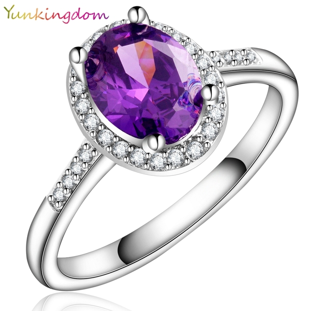 Yunkingdom Charm Wedding Ring Oval Purple Crystal Dark Blue Zircon Rings For Women White Gold Color