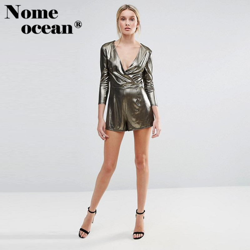 b95748fc01 2018 Summer Shimmer Wrap Playsuit Shining Metallic Design Glamorous Women  Shorts V neck Short Rompers Women Jumpsuits M17030304-in Rompers from  Women s ...