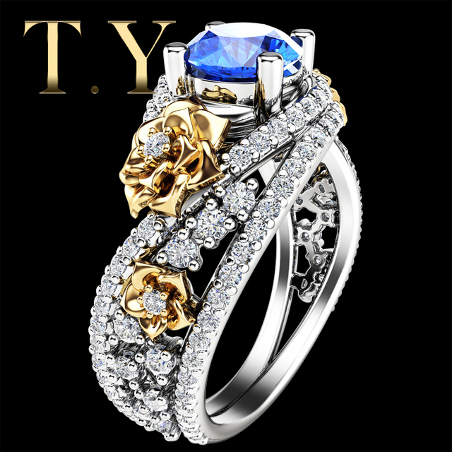 Unique Flodal Natural Topaz Engagement Ring 1.25ct 7mm Round Cut Blue Topaz 925 Sterling Silver Multi-tone Pave Ring Jewelry