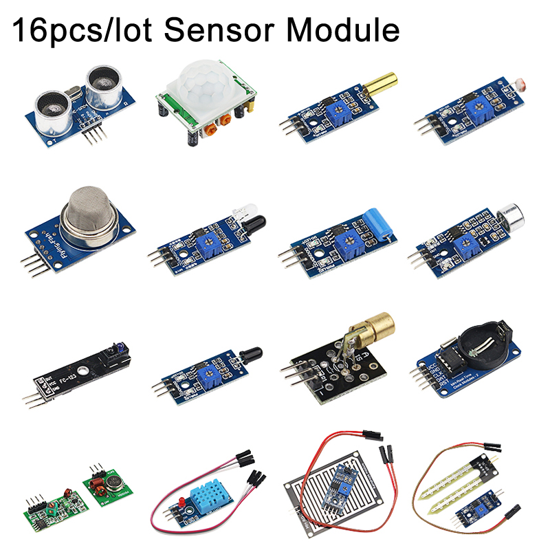 16pcs/lot Sensor kit 16 Kinds of Sensor Module for Raspberry Pi 3B+ / 3B for DIY Extension Board16pcs/lot Sensor kit 16 Kinds of Sensor Module for Raspberry Pi 3B+ / 3B for DIY Extension Board