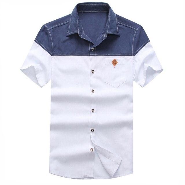 72d0a299a34 2016 New Fashion Man Cotton Shirts Plus Size M-3XL Patchwork Design Denim Style  Men