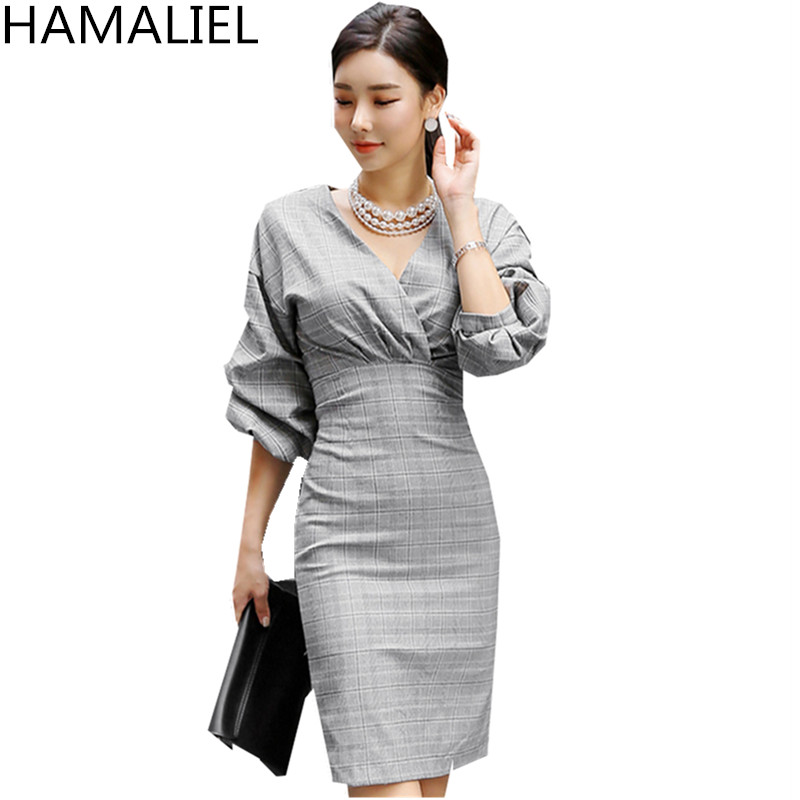 HAMALIEL Spring <font><b>Autumn</b></font> <font><b>Women</b></font> <font><b>Dress</b></font> <font><b>2018</b></font> Fashion Plaid Office <font><b>Lady</b></font> Puff Sleeve High Waist <font><b>Sexy</b></font> <font><b>V</b></font> <font><b>Neck</b></font> <font><b>Bodycon</b></font> Pencil OL <font><b>Dress</b></font> image