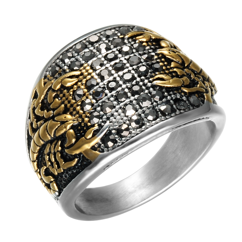 ff249334aa6d1 HIP Punk Vintage Black Crystal Scorpion Pattern Mens Ring Gold Color Round  Stainless Steel Titanium Rings for Men Jewelry
